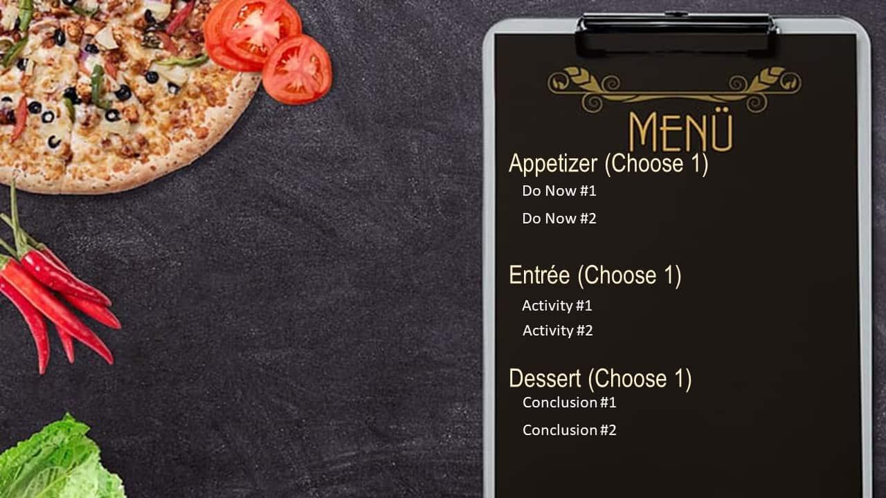 menu style choice board