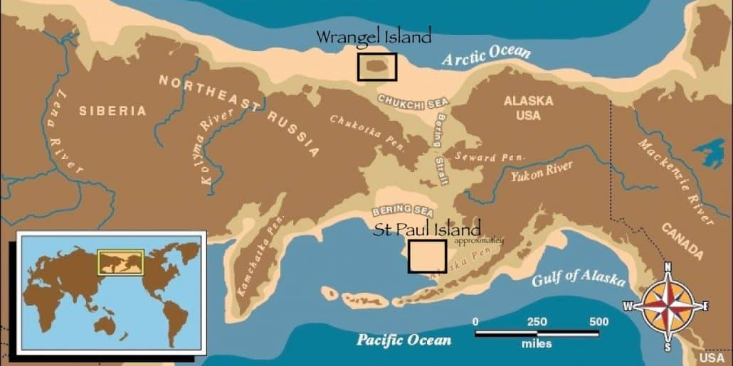 Map of Beringia and Bering Strait